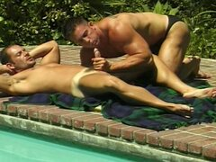 Two bodybuilders suck on each other's cock  .