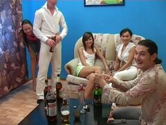 Drunk Horny Babes Having Sex with Many Cocks in Group sex vid