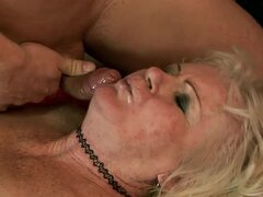 Blonde granny Mylen gets her hairy pussy licked and pounded doggy style
