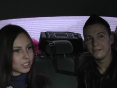 Amateur brunette Abbey is sucking dick in the car