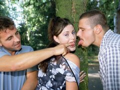 A pair of commanding dudes boss this poor teen around and double team her
