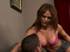 Monique Fuentes comforts her son's friend by sucking his cock