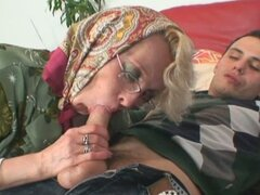 Horny granny get nasty with a young guy's salami