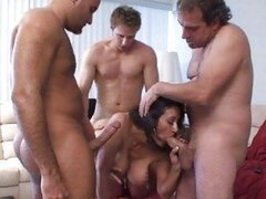 Dark haired milf with big boobies sucks big big burrito in gang bang