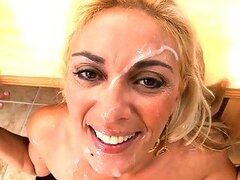 Mature blonde woman is eager for a fuck with young tough cock