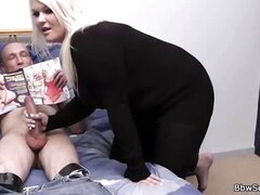 Blonde BBW milks married guy