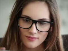 fine brunette with glasses
