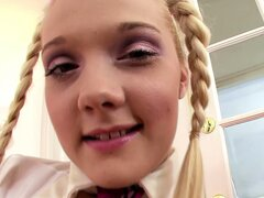 Innocent looking�Mindy Belle is anything but as she strips and spreads