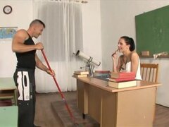 Aliz the hot and horny school teacher fucks the cleaner a different student