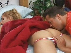 Hot blonde sleeping babe gets her booty licked on bed