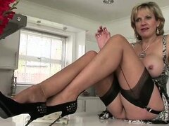British stocking milf showing off