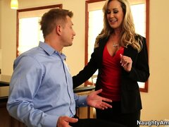 Sweet ass babe Brandi Love shows a house and shows some oral