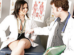 Dr.Emma is going on vacation and needs Dr.James to watch her gynecology practice while she's gone. Unfortunately he only specializes in proctology and doesn't know how to properly examine a woman. So Dr. Emma has to give him a personal step by step tutori
