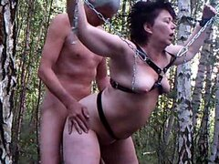 Fucking my chubby submissive slut wife doggystyle in forest