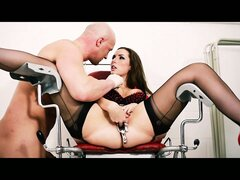 Brunette Paige Turnah fingered and fucked in the doctor's office