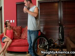 Jenni Lee gets her skinny body on top of her man and teases him