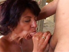 Old couple in great anal action outdoors