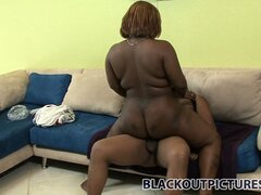 Chunky ebony bitch Queen B gets her black snatch full of Shorty's BBC