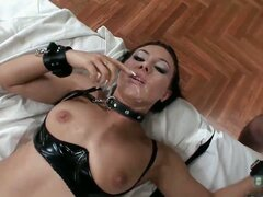 Hot black leather nasty sexy body babe part1