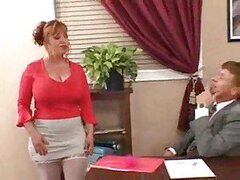 Secretary is chubby and horny for his cock