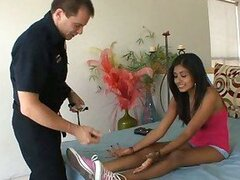 Dark girl lets police officer worship her feet and lets him fuck her