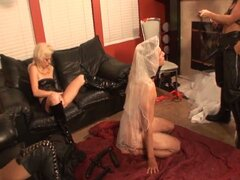 Hot and horny strapon wearing dominatrix makes man bride suck her cock
