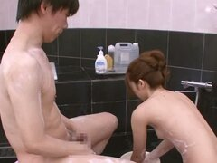 Japanese sweetie Rina Katoh loves sucking a cock in a bathroom