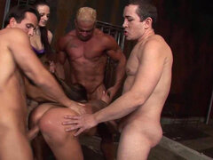 Fetish amateur Cathy Heaven in gangbang action