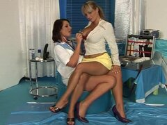 sexy brunnette and blonde play the doctor