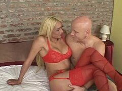 Celeste the blonde tranny fucks a guy in his ass