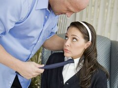 A chick in her school uniform shows she's well randy as she rides her teacher