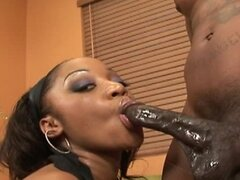 Black girl with big tits plays with her pussy