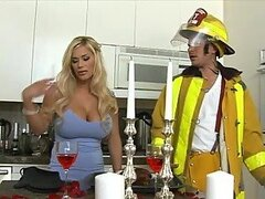 Busty Blonde Shyla Stylez Swallowing The Fireman's Big Hose