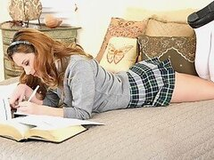 Layla Marie and her friend Nick were planning to assist each other while hitting the book. But after a lil' while they both got bored pants down. Few sexual double meanings thrown to each other and Layla didn't notice how she fetched up swallowing down he