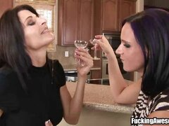 Watch this two hot chicks swapping their glasses with full of their spits.