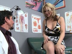 The gorgeous blonde strips her clothes and the doctor can't resist her hot body