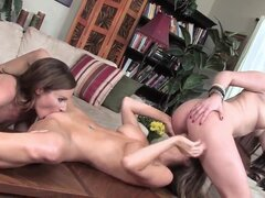 Andy San Dimas, Emily Addison and Samantha Ryan are three dark haired lesbian honeys with amazing bodies. Fully nude babe with big tits and smooth pussy turns on the girls and they all get naked to lick each others snatches.