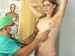 Horny gynecologist and redhead patient
