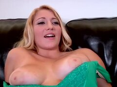 Pretty young hottie laying on the couch and gently fondling her shaved tight pussy, she shows off her pretty big boobs, spreads slender long legs and softly massages the cunt until some guy joins her