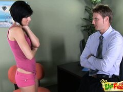 Adorable inked brunette Alexia making out with an office dude