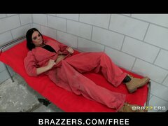 Busty lesbian prisoner makes a new in-mate fuck her pussy & ass