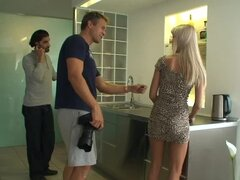 Stunning Erica Fontes gives a blowjob in a backstage