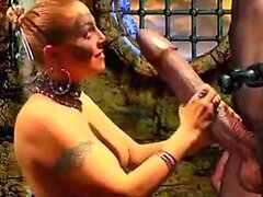 A 3D animated blonde slut is forced to suck and fuck a large monster's dick