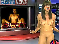Three pretty brunette celebrities reporting on naked nudes baring their perky titties