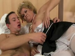 Hairy granny in lingerie fucks and sucks