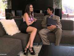 More than advice from her lawyer, the stunning babe needs him to fulfill her desires