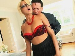 Busty Blonde on Glasses Is Desperate For Sex