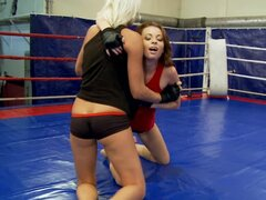 Incredible Leyla Peachbloom is having fight with her nude wrestler