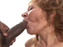 Three Black guys fuck old White woman and cum in her pussy
