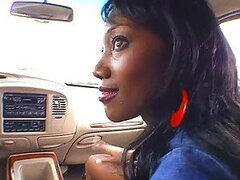On The Road Handjob With A Hot Ebony Babe